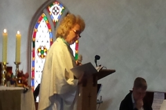 Clem preaching her final service at St. Margaret's